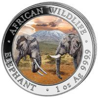Somalia - African Wildlife Elefant 2020 - 1 Oz Silber Color