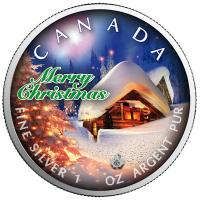 Kanada - 5 CAD Maple Leaf Stille Nacht Silent Night 2019 - 1 Oz Silber Color