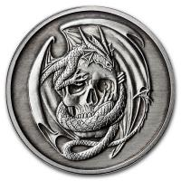 USA - Anne Stokes Dragons: Skull Embrace - 1 Oz Silber Antik Finish