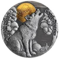 Niue - 5 NZD Wildlife in the Moonlight: Wolf 2020 - 2 Oz Silber AntikFinish