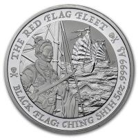 Tuvalu - 5 TVD Black Flag The Red Flag Fleet 2021 - 5 Oz Silber