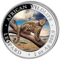 Somalia - African Wildlife Leopard 2021 - 1 Oz Silber Color