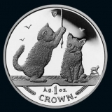 Isle of Man - Cats 2001 - 1 Oz Silber - PP, Box + CoA