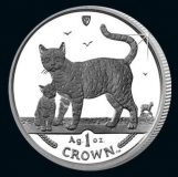 Isle of Man - Cats 2002 - 1 Oz Silber - PP, Box + CoA